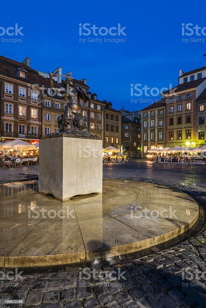 Warsaw mermaid monument on the Old City Square royalty-free stock photo