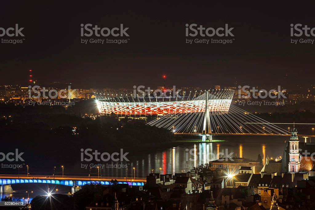Warsaw National Stadium at night stock photo
