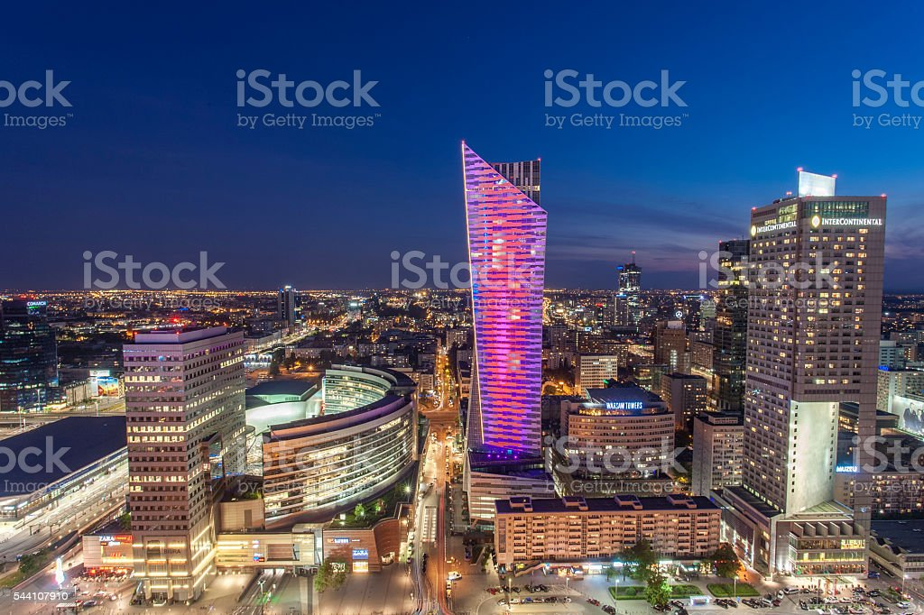 Warsaw night view stock photo
