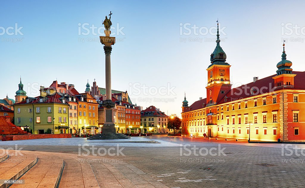 Warsaw, Old town square at night, Poland, nobody stock photo