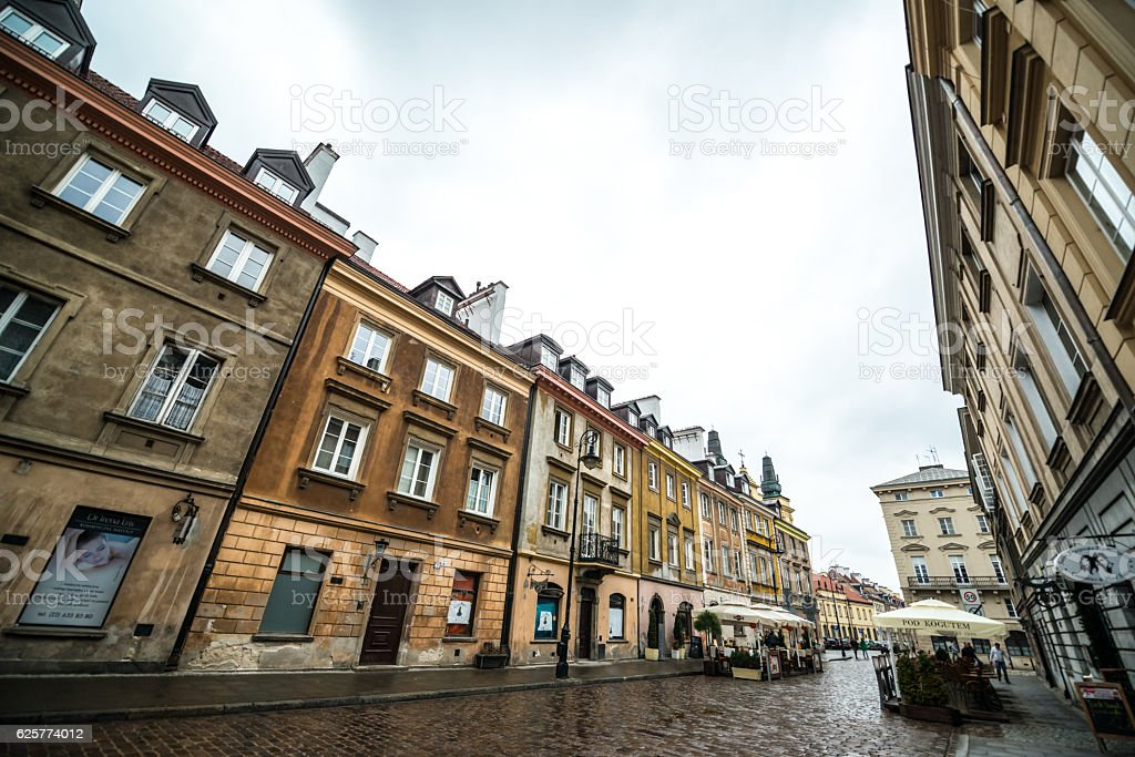 Warsaw old town streets in rainy weather, Poland stock photo