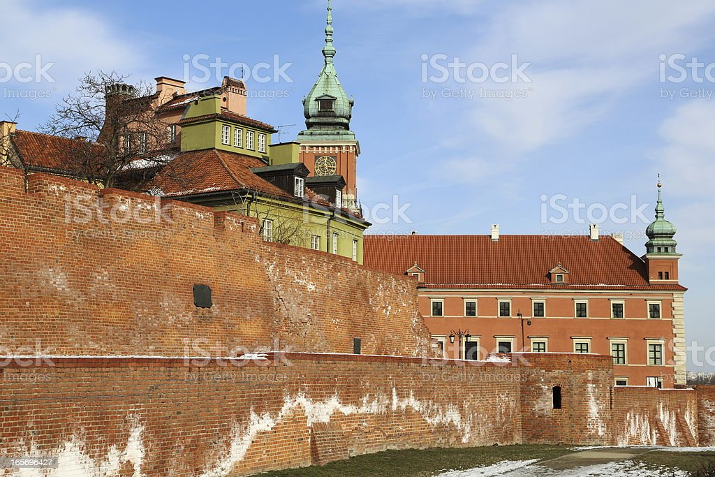 Warsaw old town wall and castle royalty-free stock photo