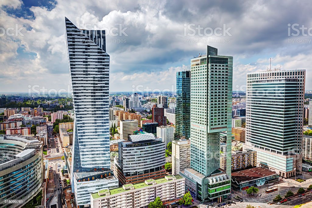 Warsaw, Poland. Downtown business skyscrapers, city center stock photo