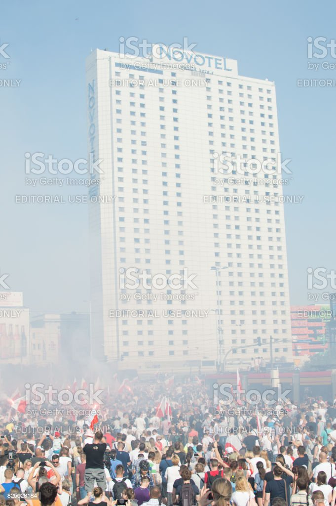 Warsaw, Rondo Dmowskiego, 17:00 hour, Celebration of the Warsaw Uprising stock photo