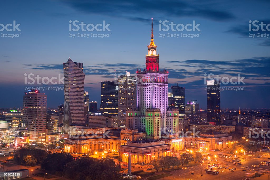 Warsaw skyline at night stock photo