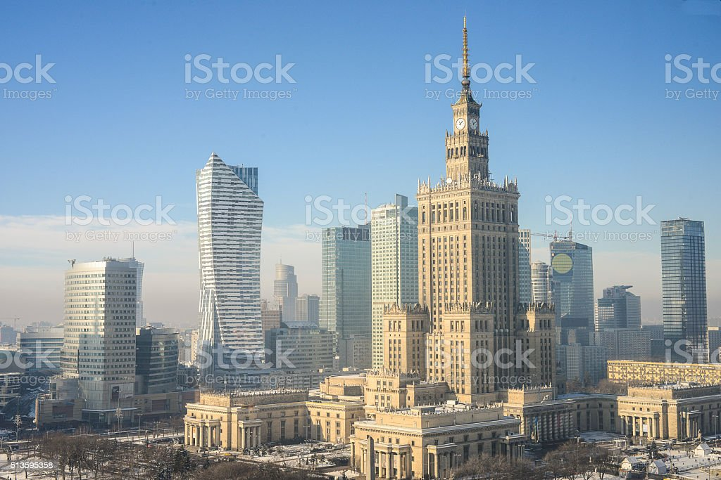 Warsaw skyline, Poland stock photo