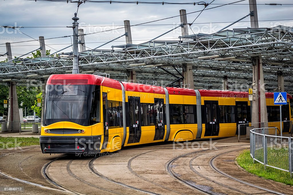 Warsaw Tramway depot, Poland stock photo