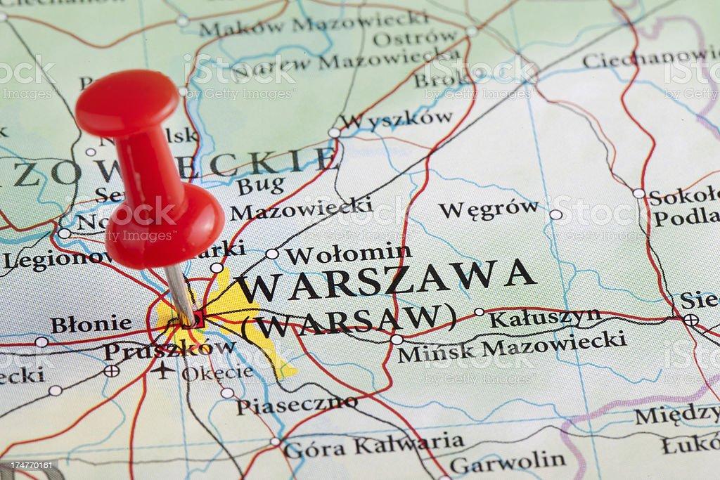 Warsaw, Warszawa Map - Poland, Europe stock photo