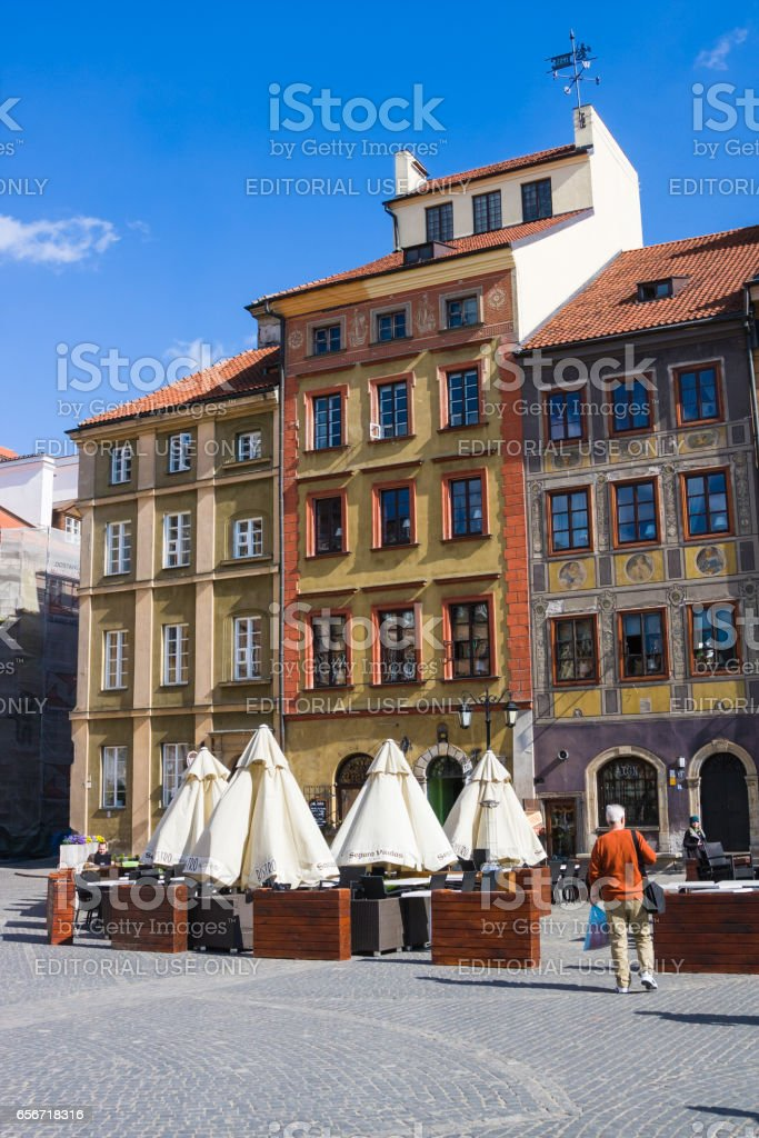 Warsaw's Old Town Market Place (Rynek Starego Miasta), which is center and oldest part of Warsaw stock photo