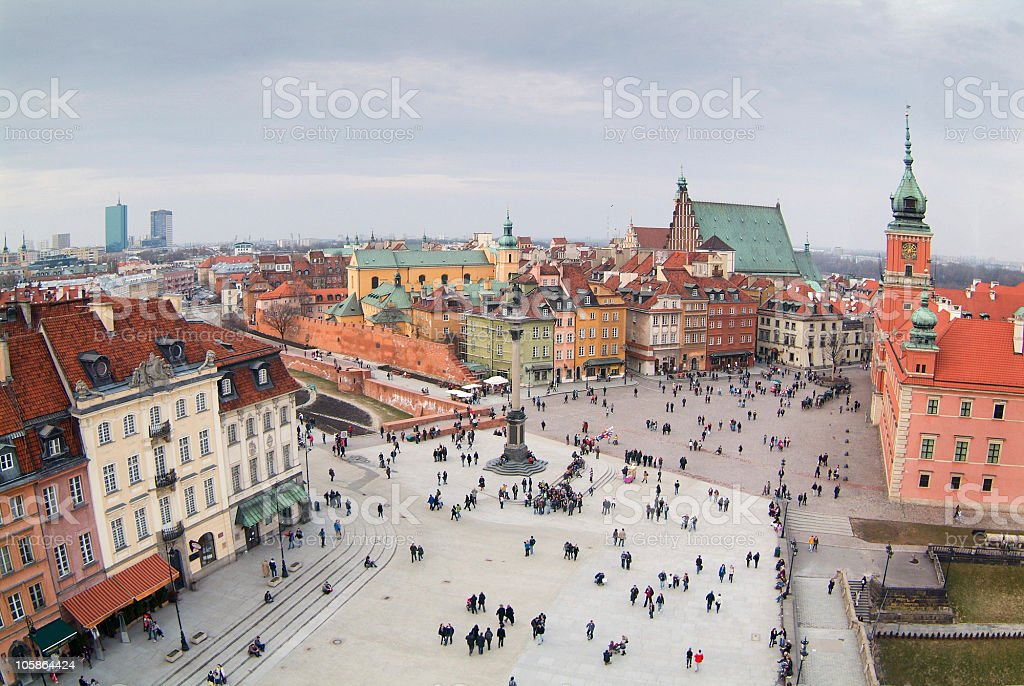 Warsaw's old town seen from the top of viewing terrace. royalty-free stock photo