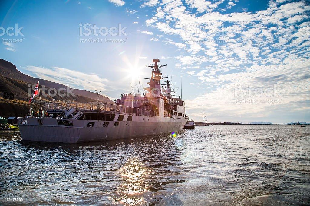 Warship In Longyearbyen stock photo