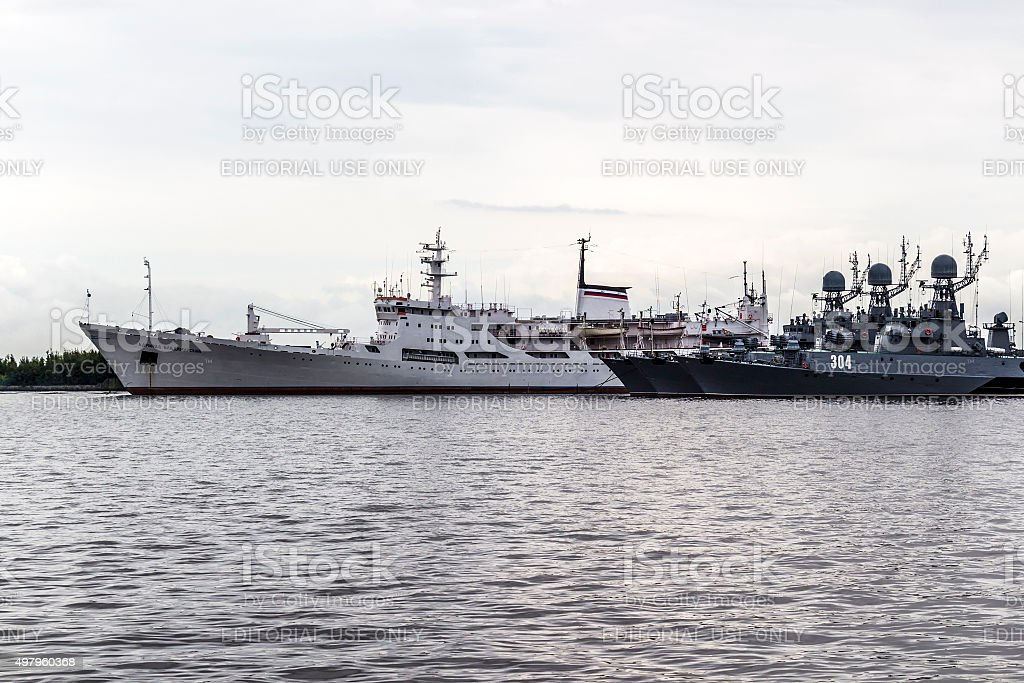 Warships in the town of Kronstadt stock photo