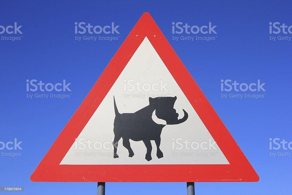 Warthog Crossing Road Sign - Hog Alert royalty-free stock photo
