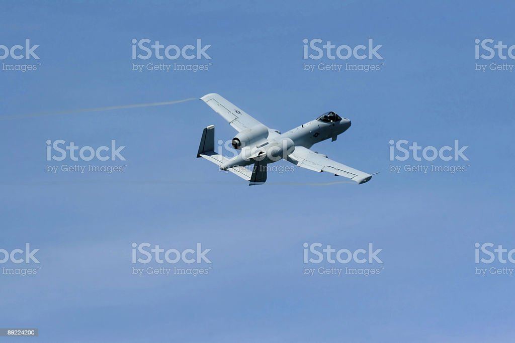 A-10 warthog doing flyby stock photo