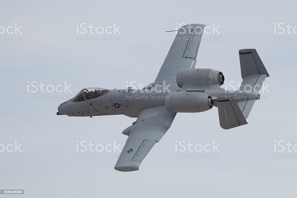 A-10 Warthog in a close pass stock photo
