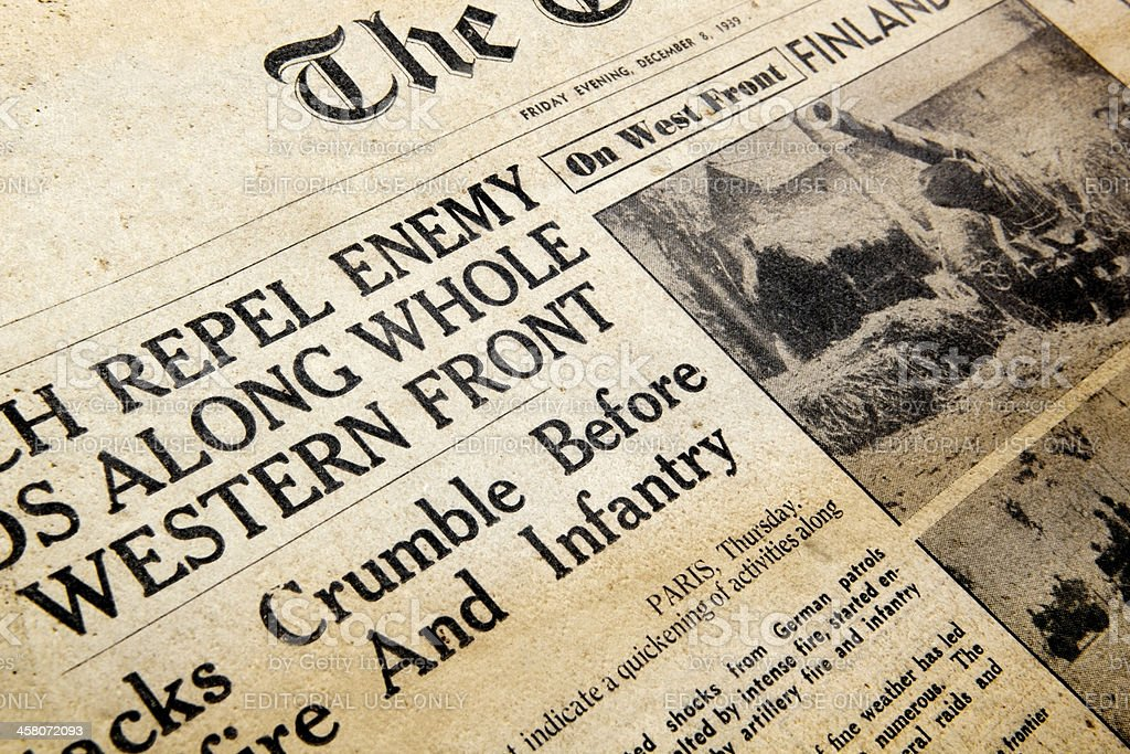 Wartime Newspaper royalty-free stock photo