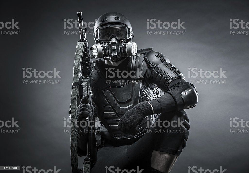 Wartime Soldier Tactical with Assault Rifle Against Terrorist Attack royalty-free stock photo