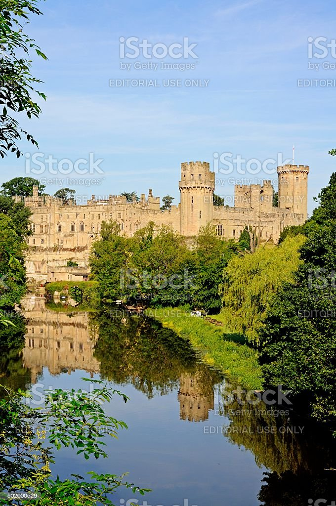 Warwick castle and River Avon. stock photo