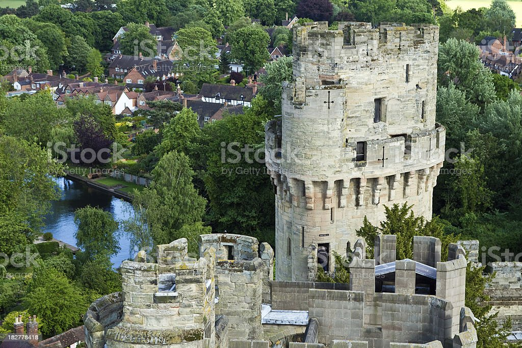 Warwick castle and view over the river Stour stock photo