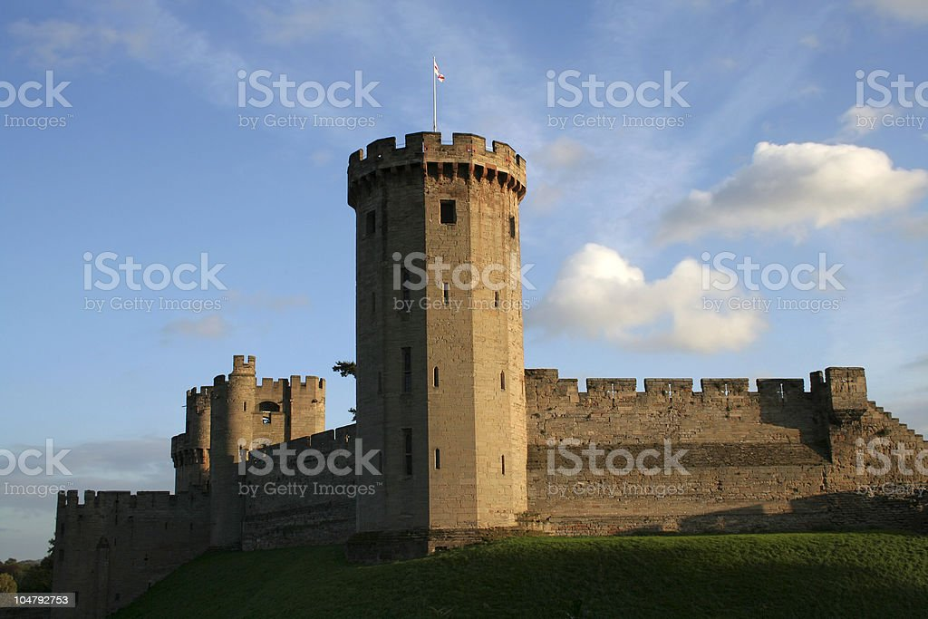 Warwick castle at dusk stock photo