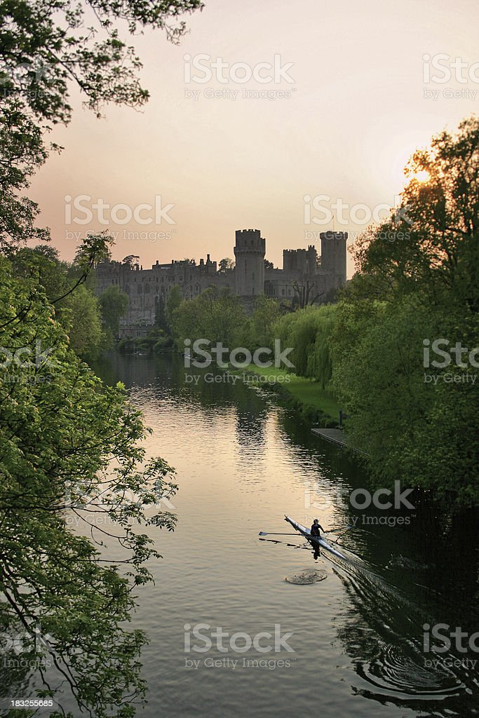 Warwick Castle at Sunset stock photo