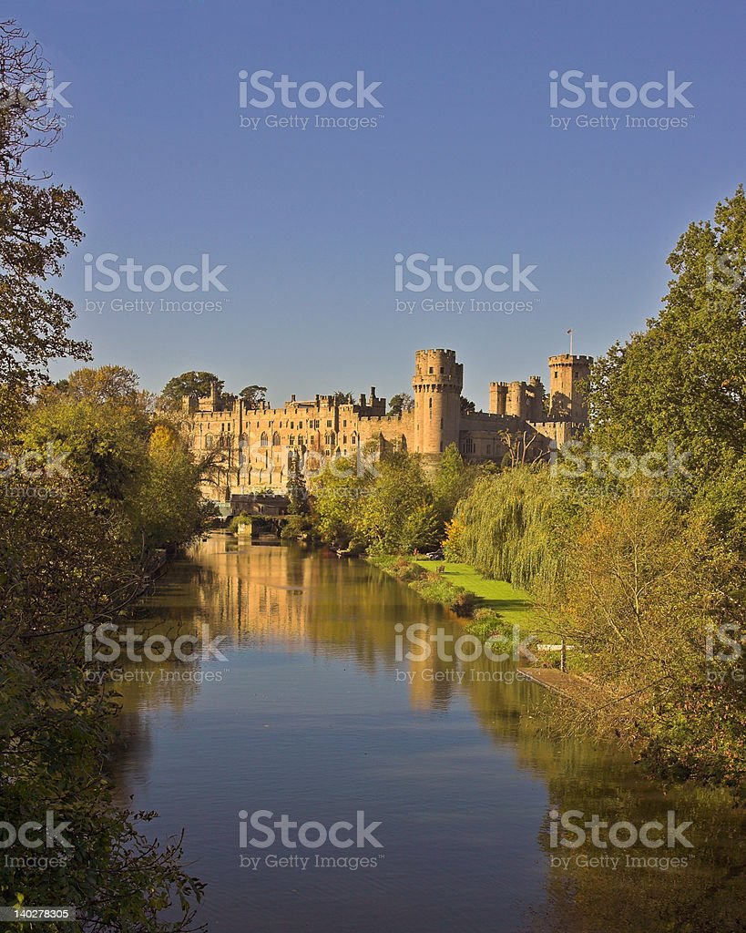 warwick_castle_view_from_upstream stock photo
