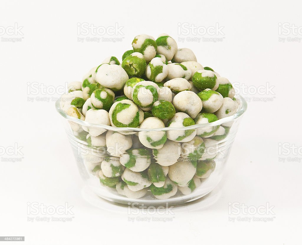 Wasabi Peas in Glass Bowl stock photo