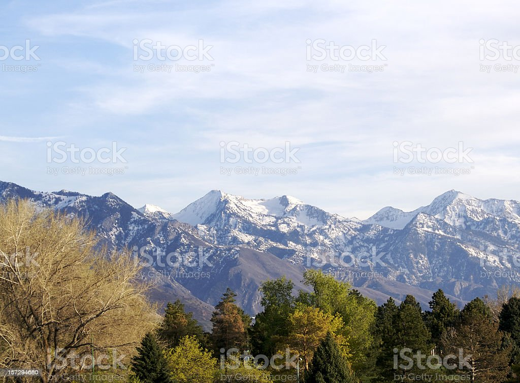 Wasatch mountains by day stock photo