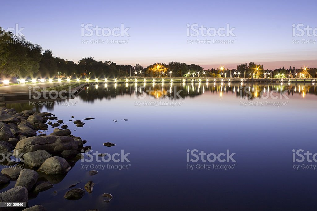 Wascana lake at night stock photo