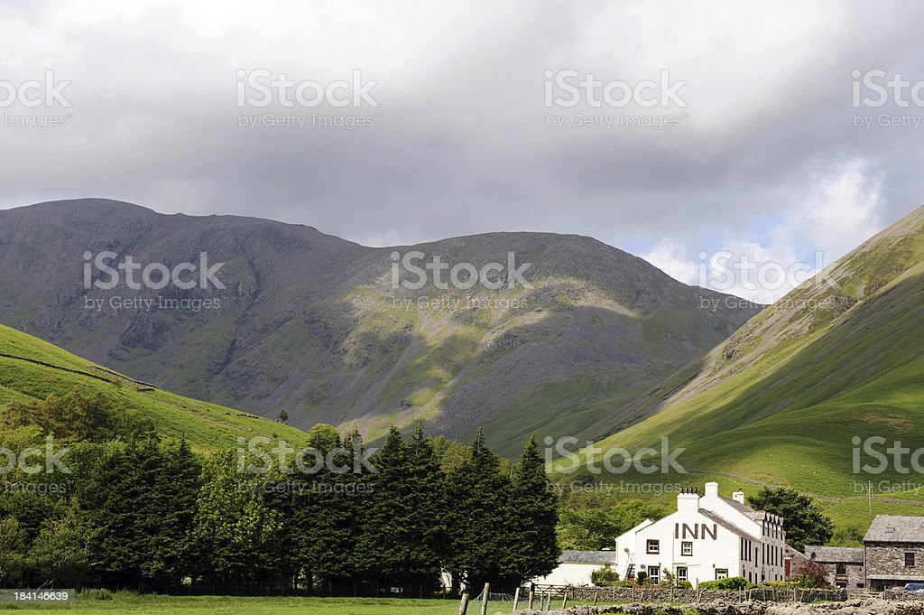 Wasdale Head Inn and Pillar Mountain stock photo