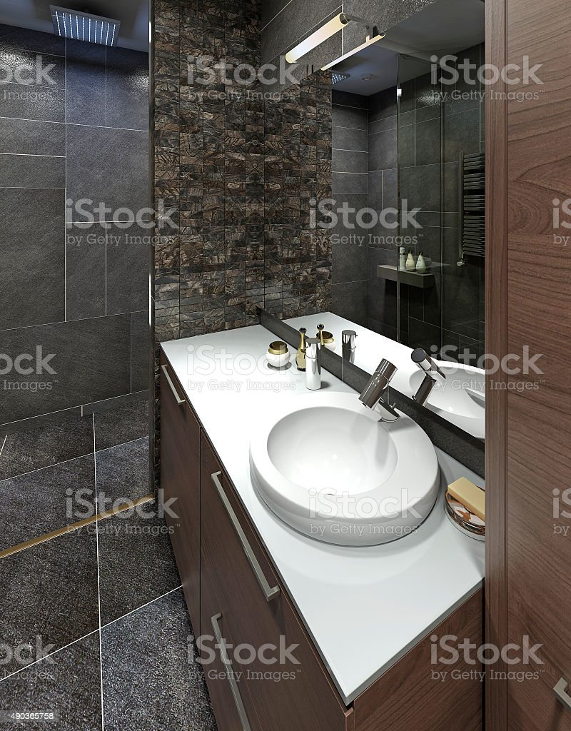 Wash basin in modern white bathroom. stock photo
