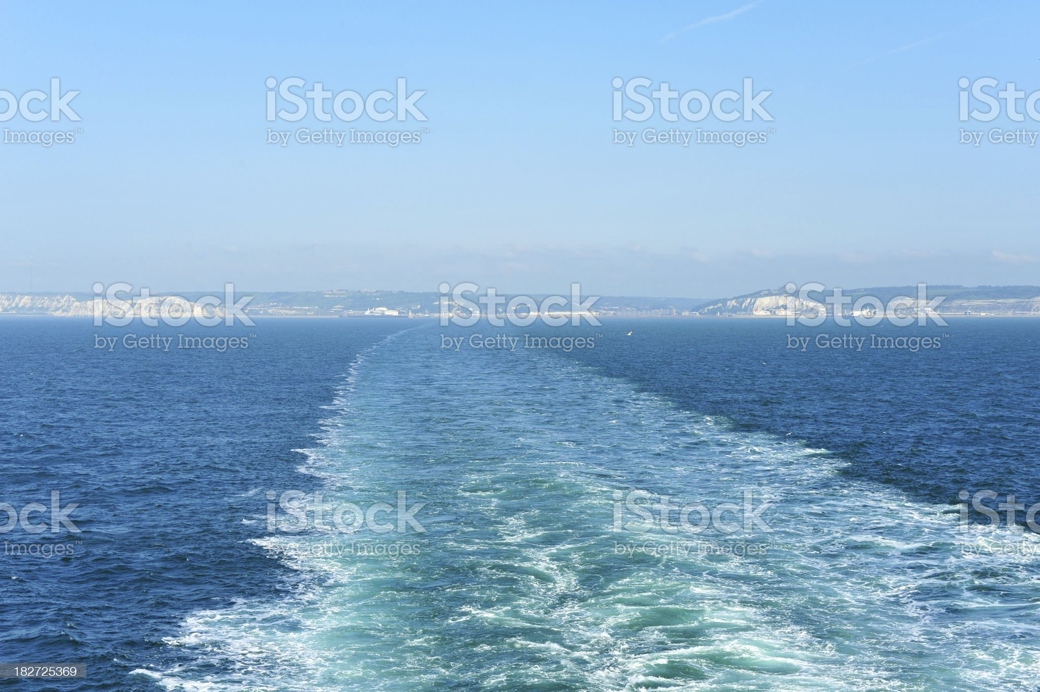 Wash from a ferry between Dover, UK and Calais, France royalty-free stock photo