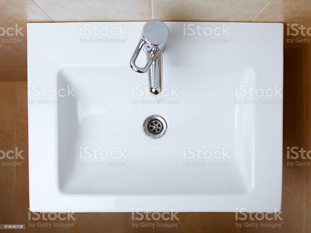 wash sink in a bathroom stock photo