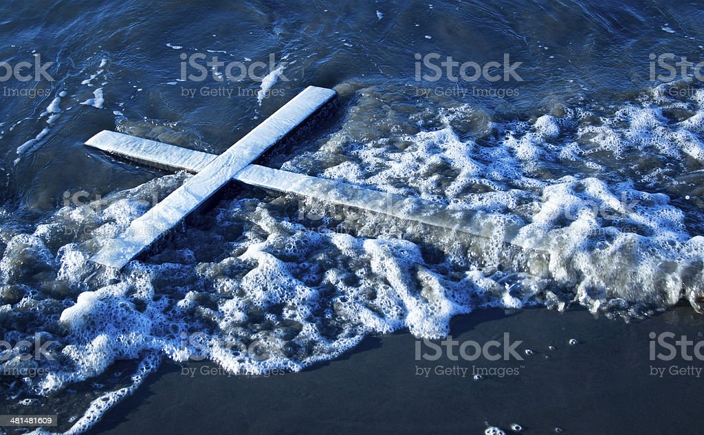 Wash Up White Cross stock photo