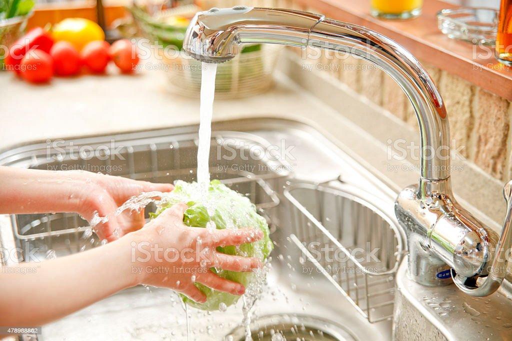 I wash vegetables stock photo