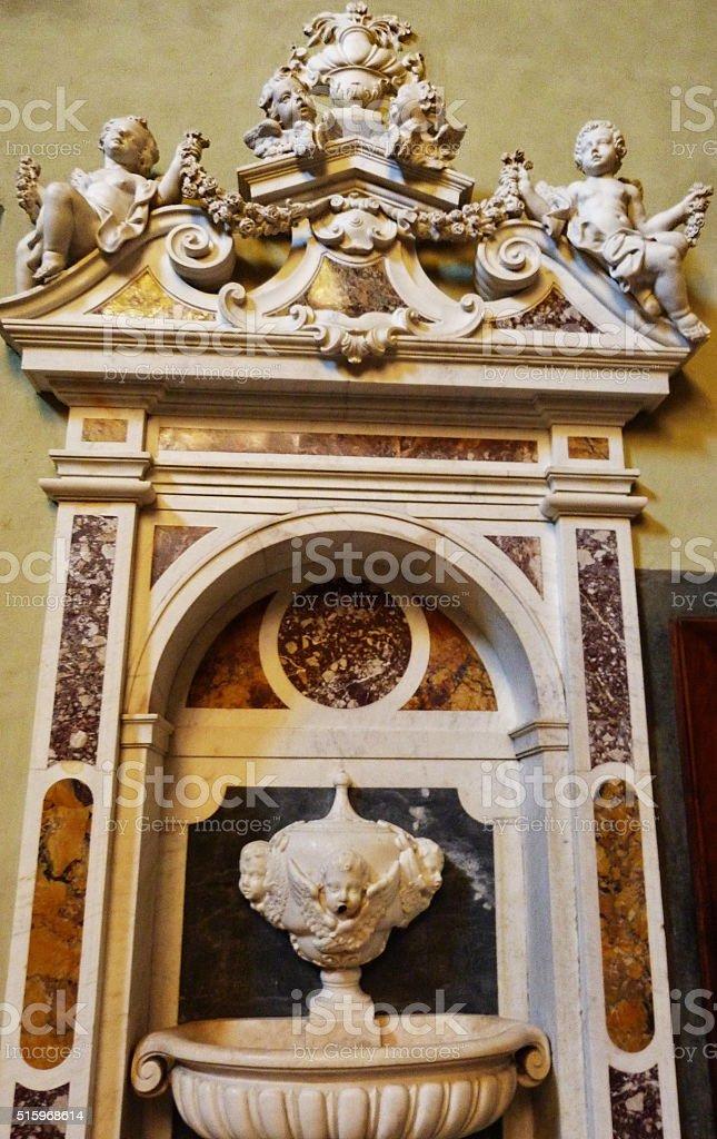 Washbasin in sacristy of Santa Maria Novella, Florence stock photo