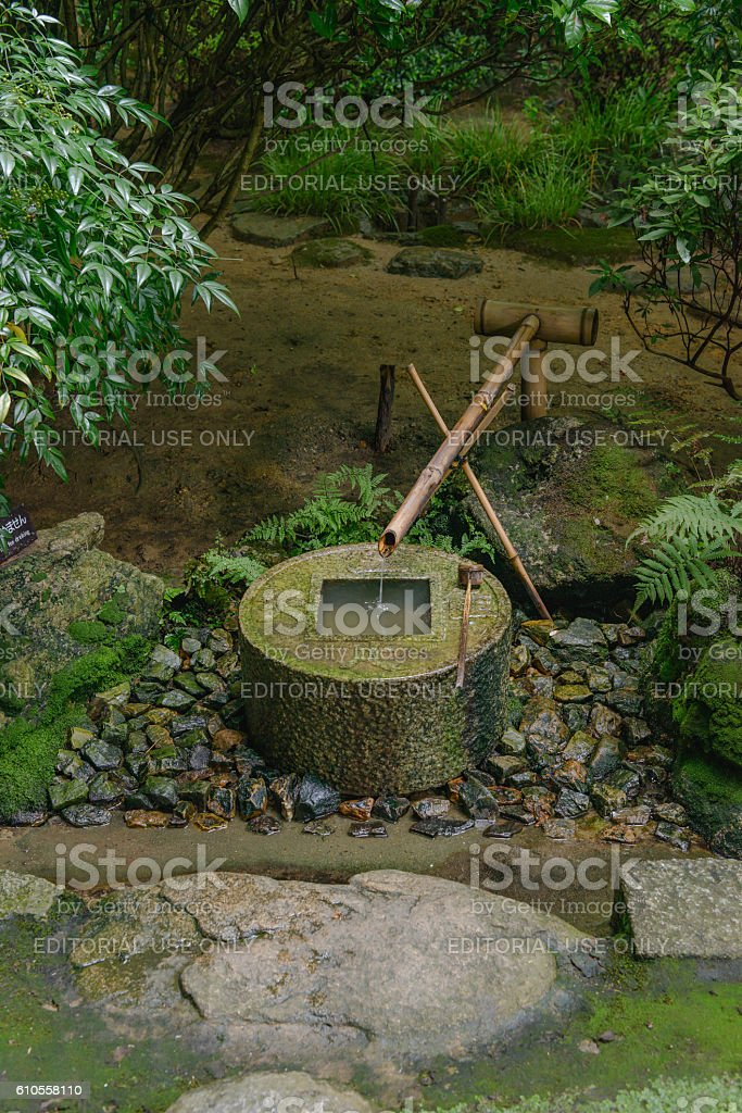 Washbasin set in Japanese garden stock photo