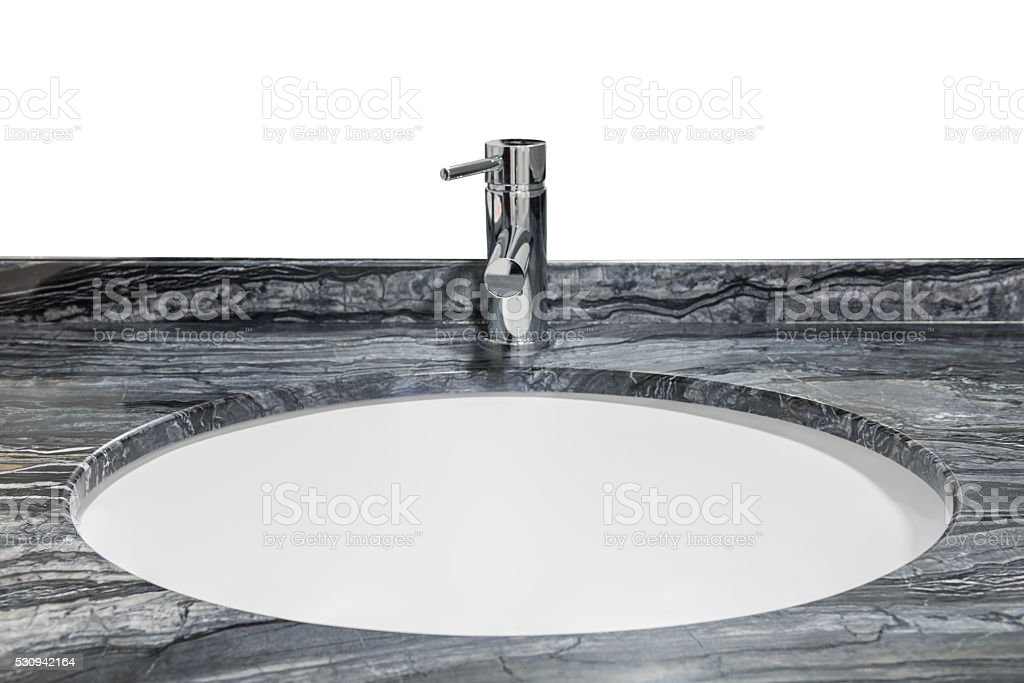 washbasin with marble top isolated on white background stock photo
