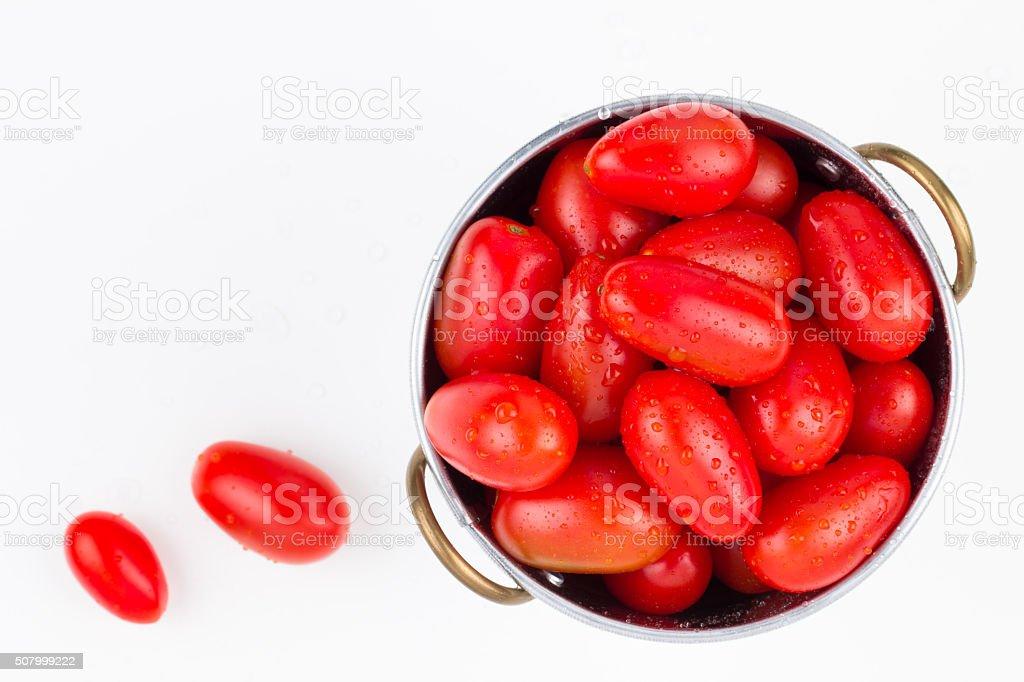 Washed garden ripe grape tomatoes stock photo
