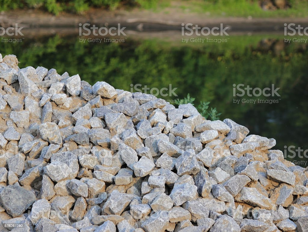 Washed gravel used at the construction site for the  of stock photo