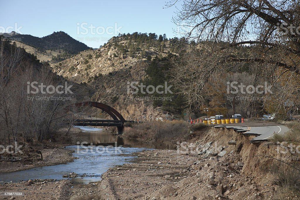Washed out Highway 36 Lyons Colorado stock photo