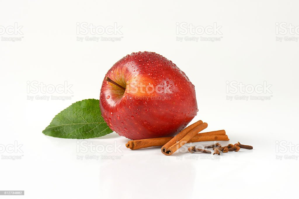 washed red apple and spice stock photo