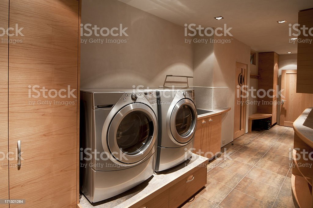 Washer and dryer front loader stock photo