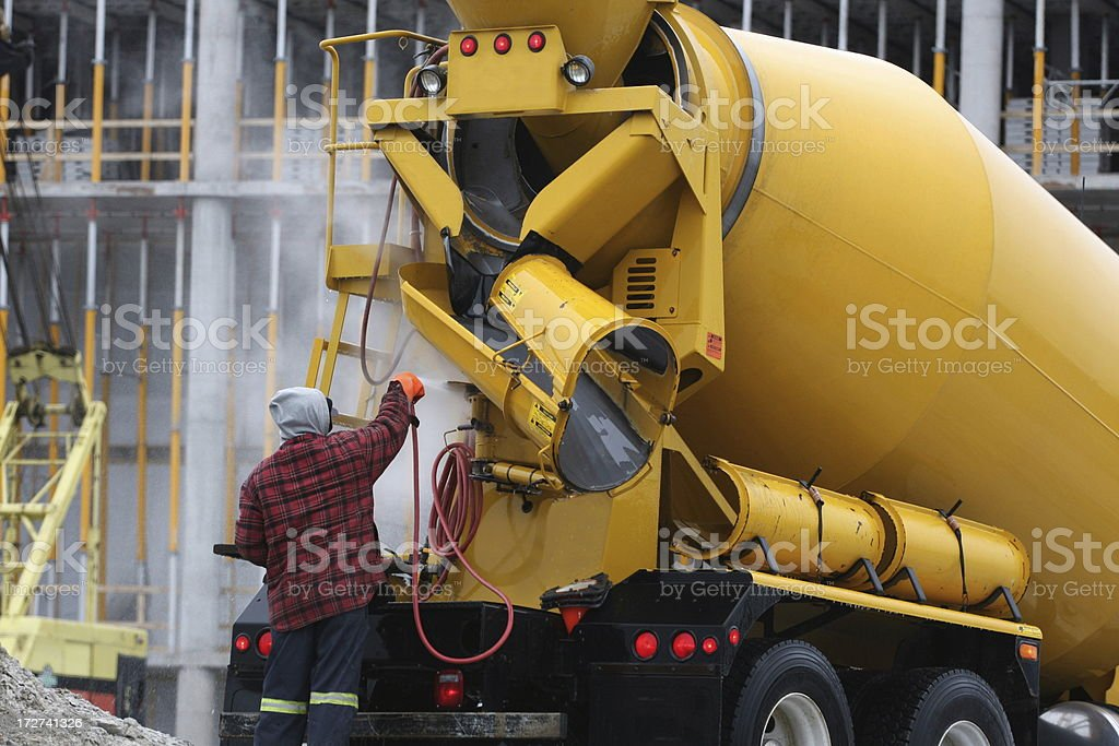 Washing A Cement Truck stock photo