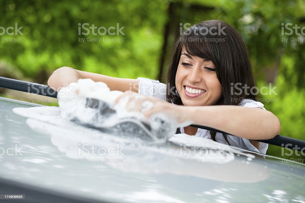Washing car royalty-free stock photo