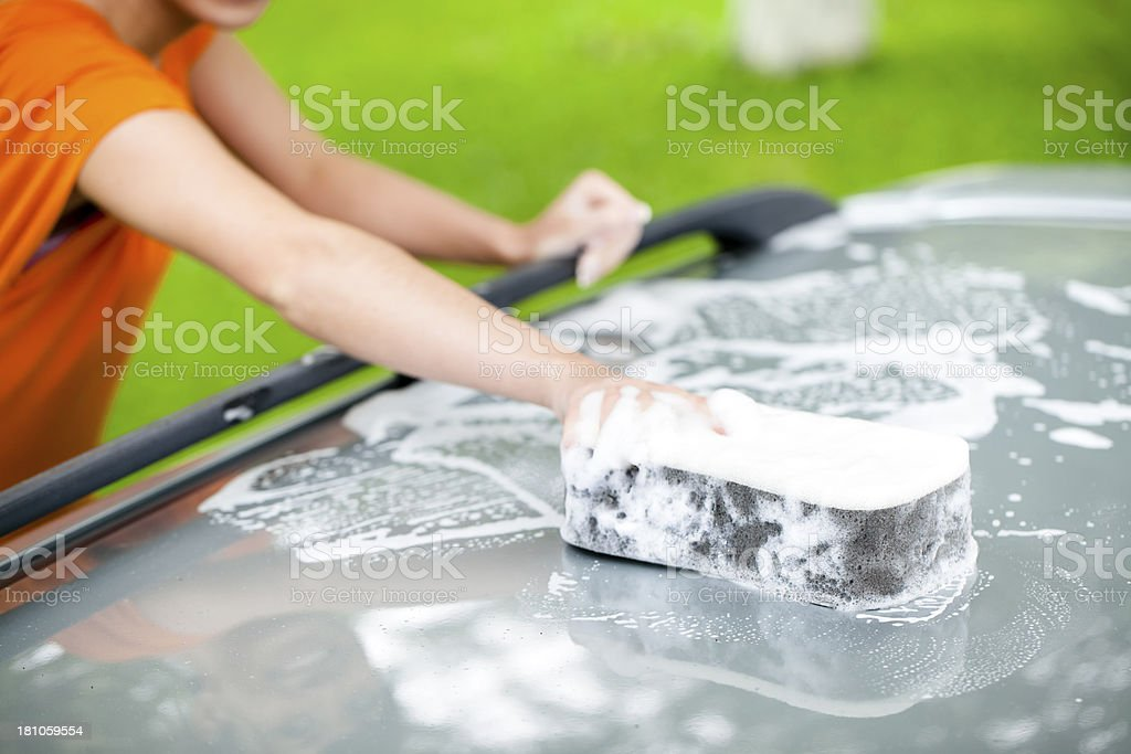 Washing car royalty-free stock photo