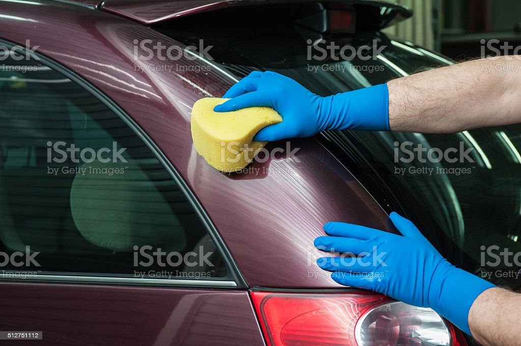 washing car with sponge stock photo