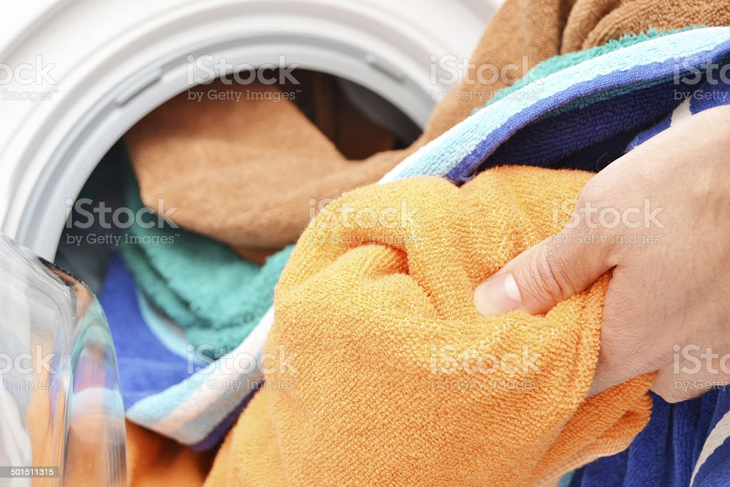 Washing clothes stock photo