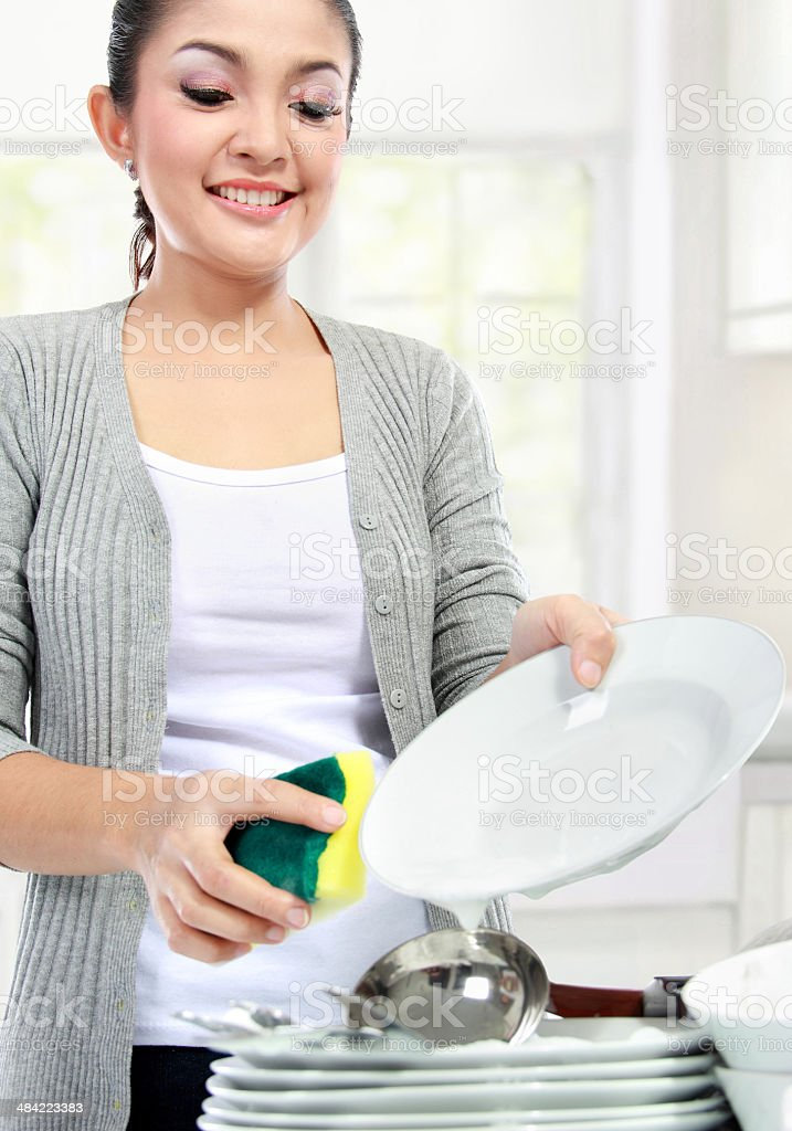washing dishes stock photo