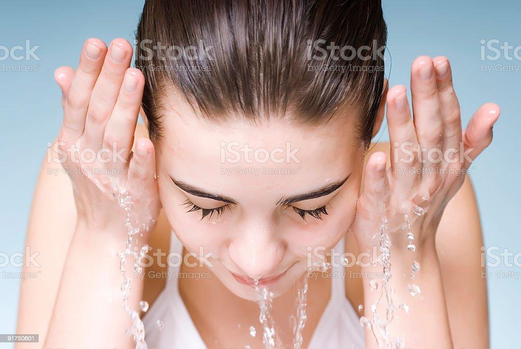 Washing face stock photo